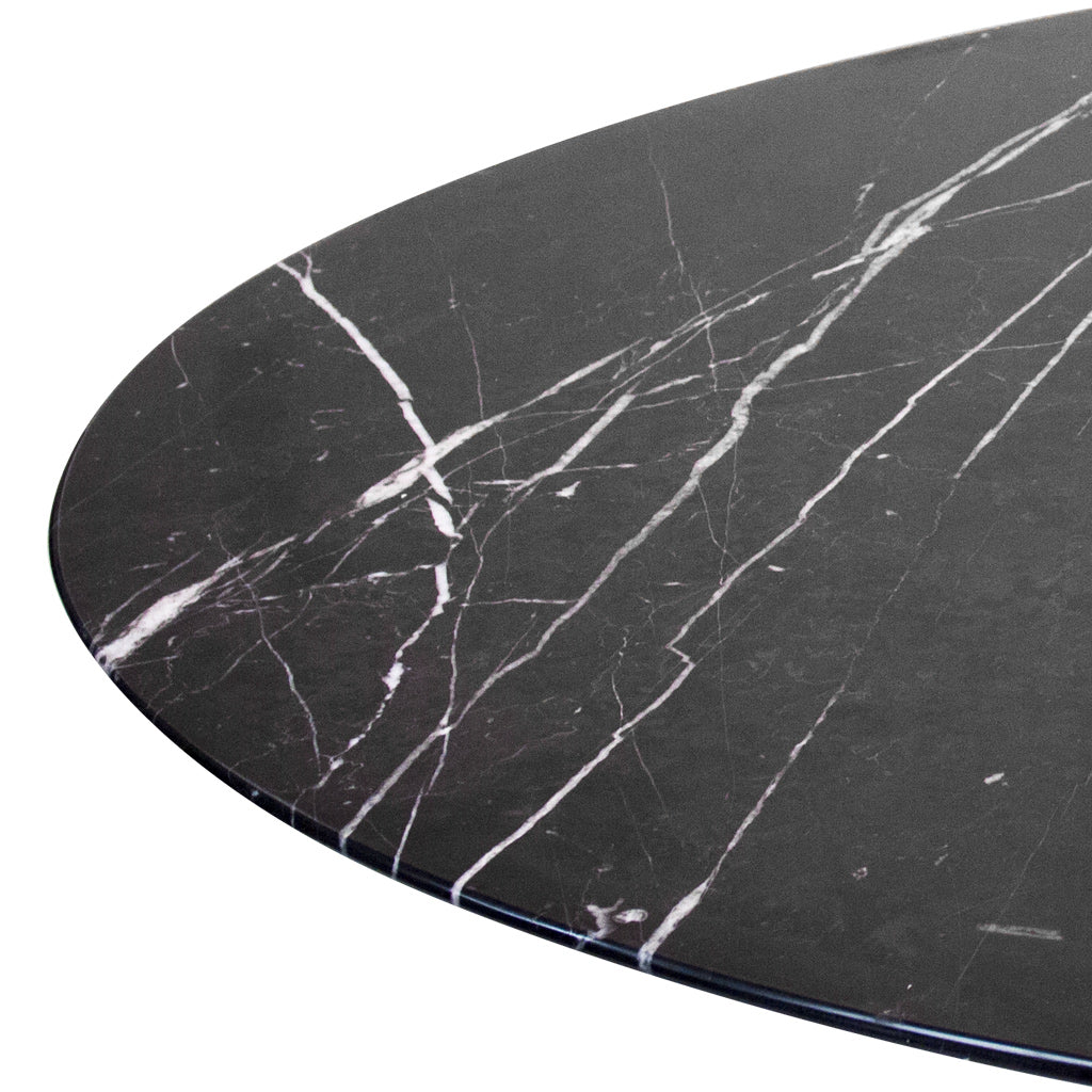 patterned black marble top dining table