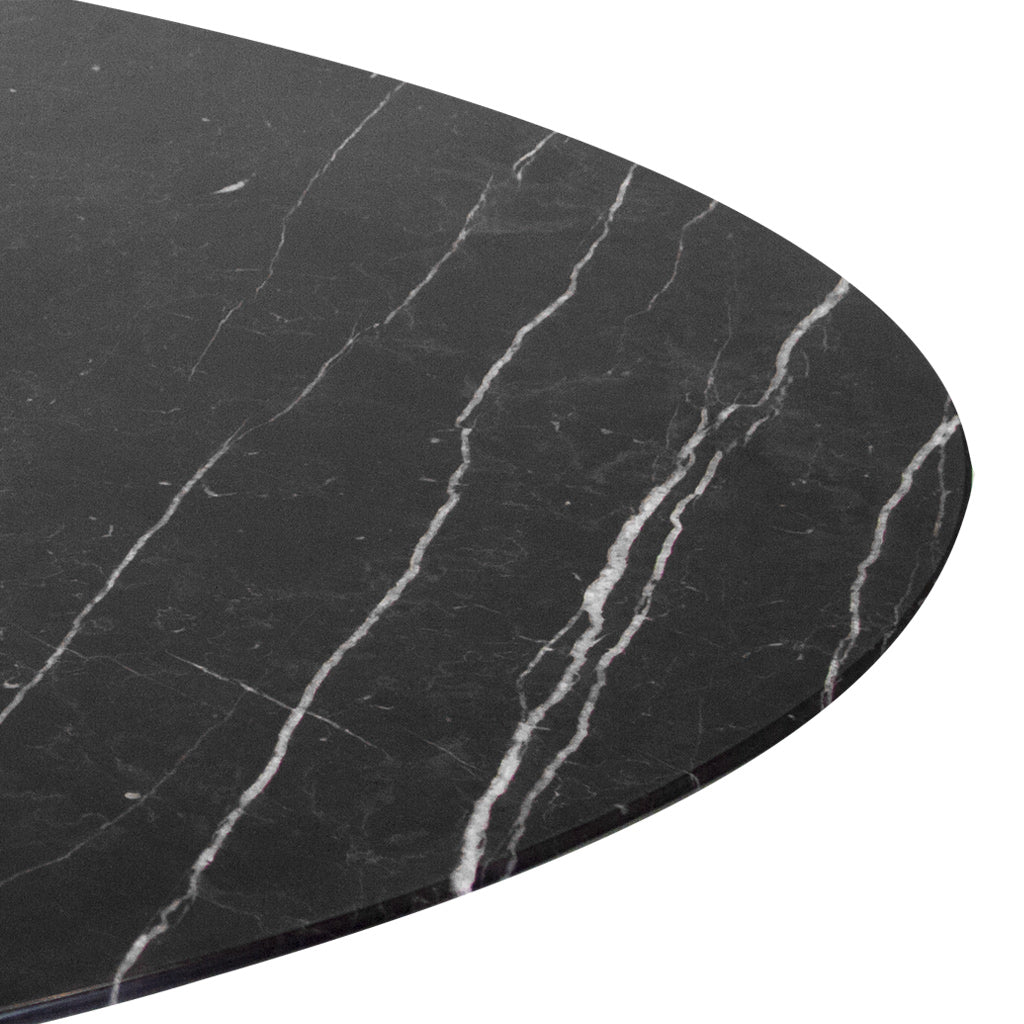 dinner table with black marble top