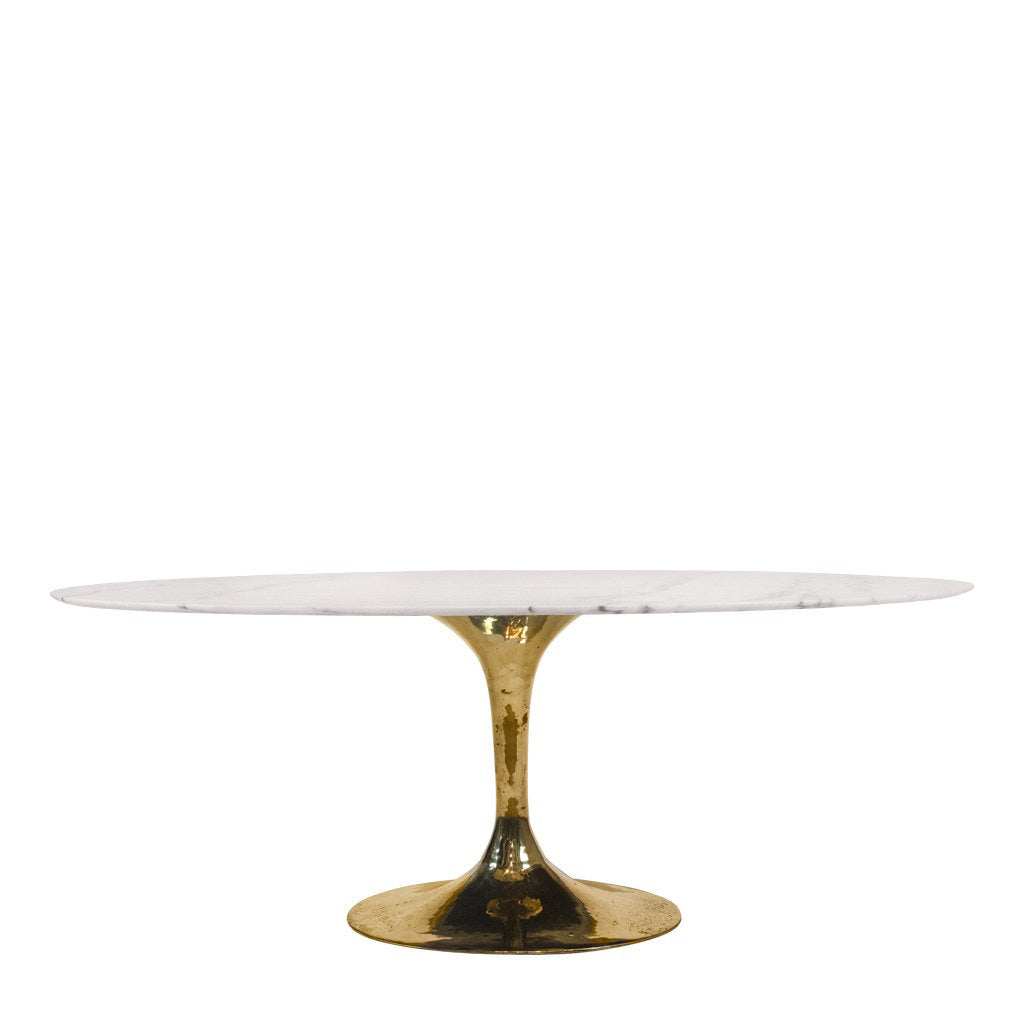 white marble top oval dining table