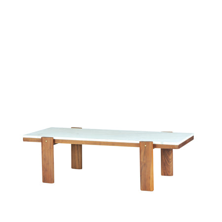 rectangular coffee table with a marble top