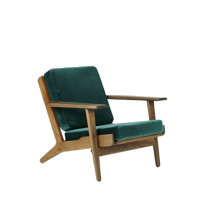 teal velvet lounge chair
