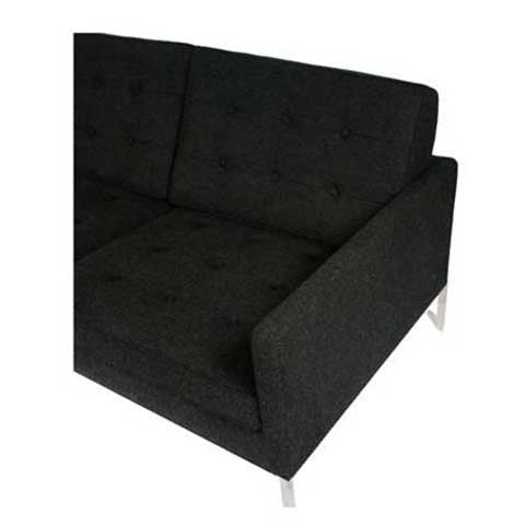 modern sofa with charcoal tweed