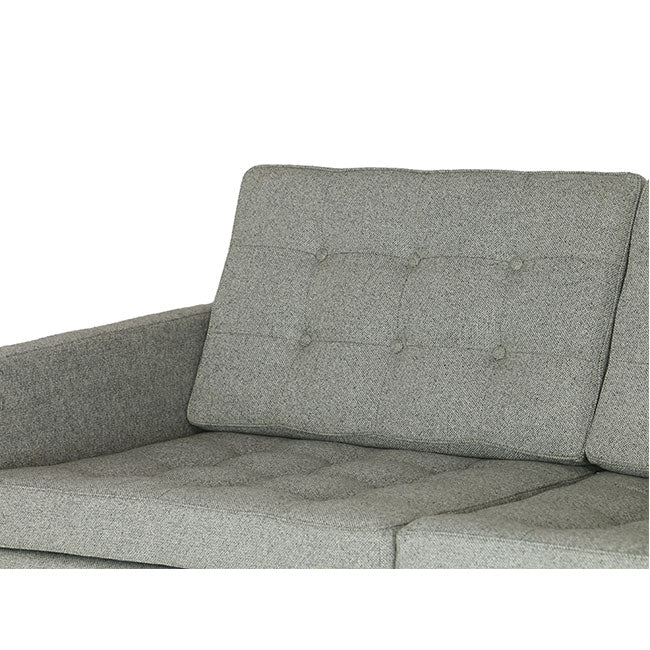 modern sofa with gray tweed