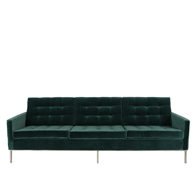 modern sofa with teal velvet