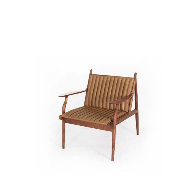 modern lounge chair with camel colored leather