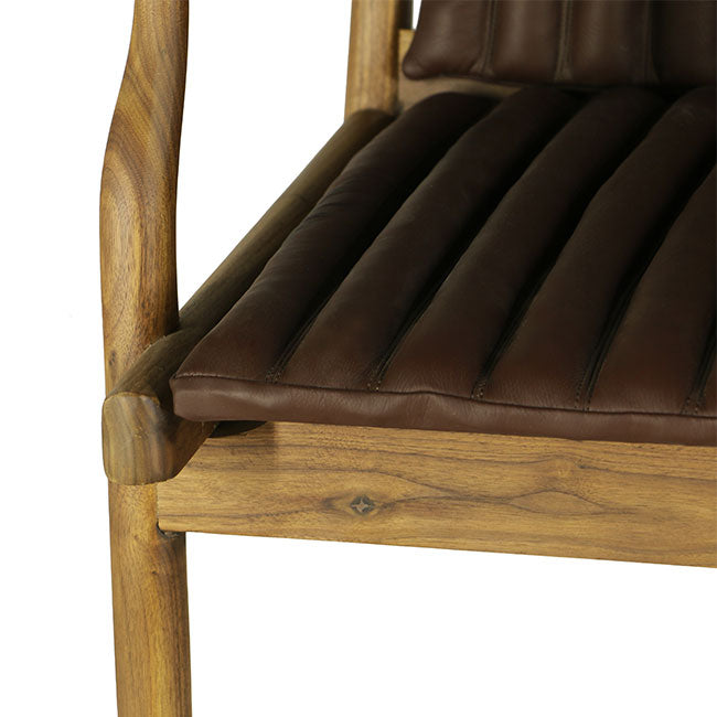 modern lounge chair with brown leather