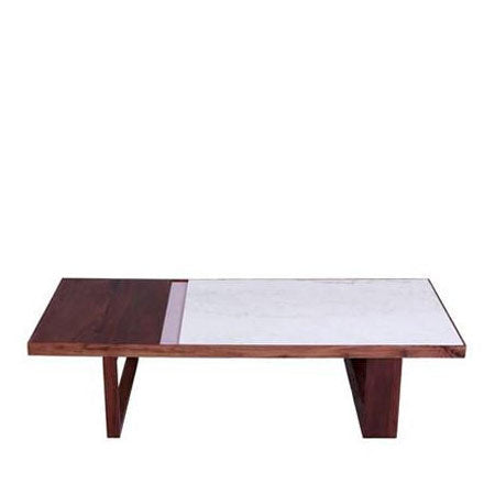 marble and walnut top coffee table