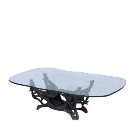 glass top bronze base coffee table