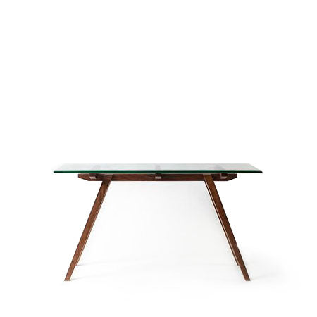 walnut base console with glass top
