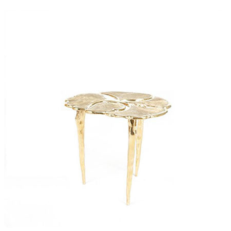 bronze brass side table with leaves design