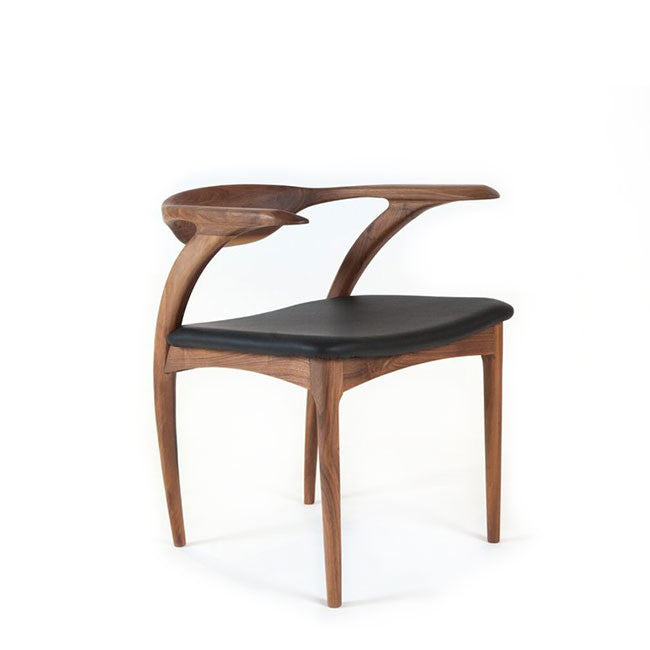 wood and leather arm chair
