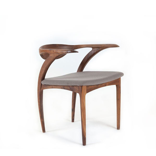 wood and fabric arm chair