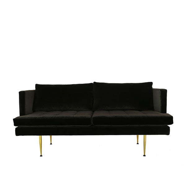 modern loveseat with feather cushions