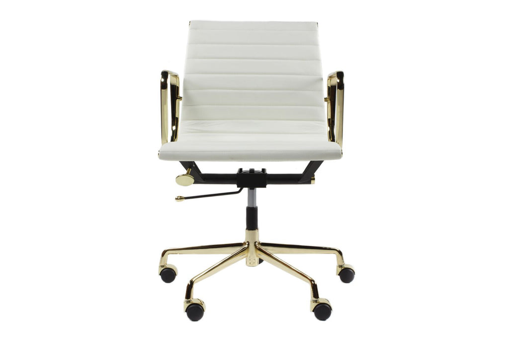 Office Chair Classic White Leather Gold Frame