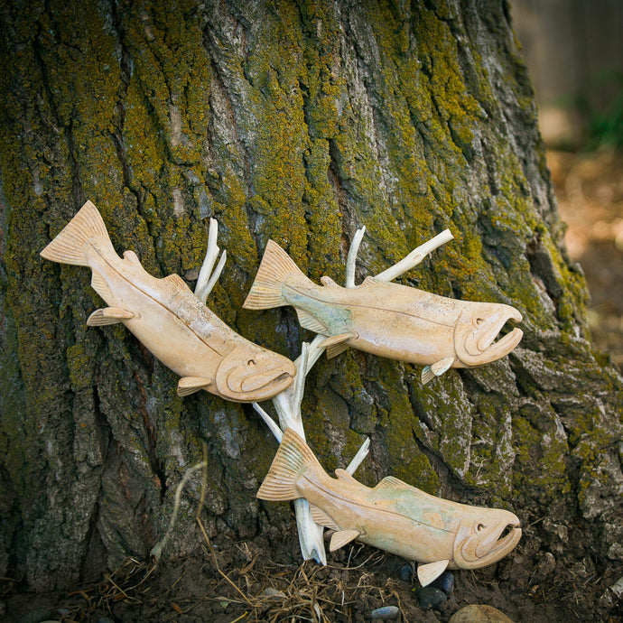 Large Salmon School Carving on Driftwood