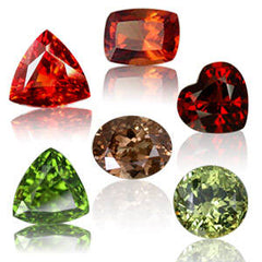 Various species of garnets: almandine, hessonite, tsavorite, demantoid