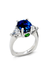Natural sapphire with kite-shaped diamonds in platinum by Diana Widman Design
