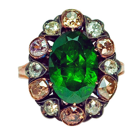 Russian demantoid garnet ring with diamonds
