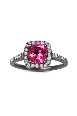 Bright Pink Spinel Ring with Diamonds