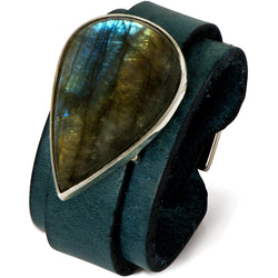 Laboradorite and leather cuff by Diana Widman Design