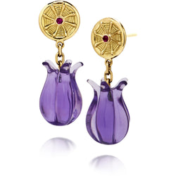 Carved amethyst earrings in gold with ruby by Diana Widman Design