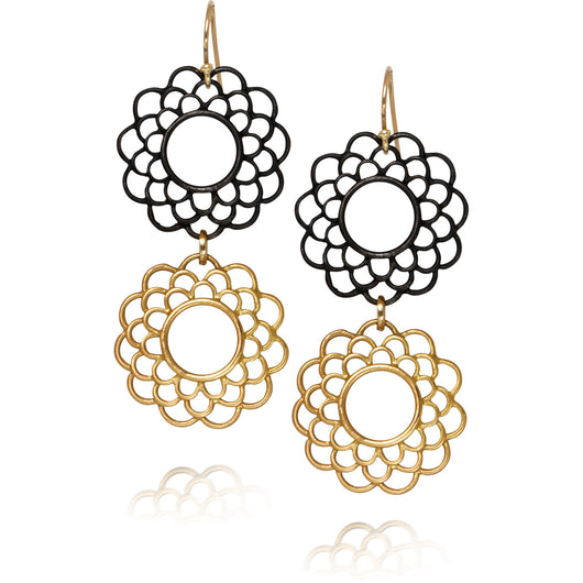 Steel and Gold Double Drop Earrings: Rosettes