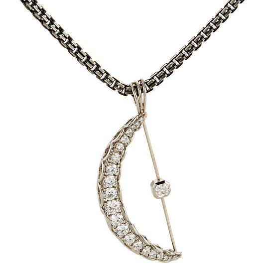 Four carats of EF VS diamonds in a crescent pendant by Diana Widman Design