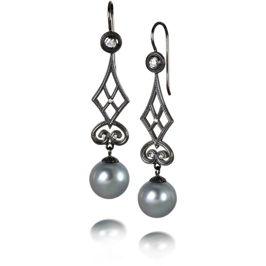 Tahitian Pearl and White Gold Earrings: Garden Gate