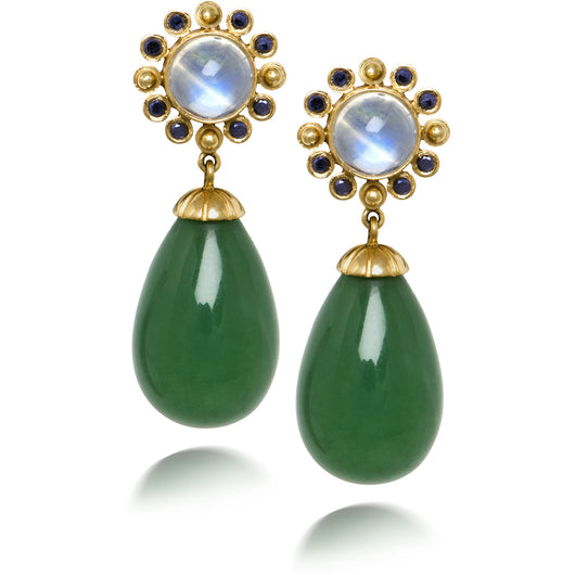 Chalcedony and blue moonstone earrings with black diamonds by Diana Widman Design in Chicago.