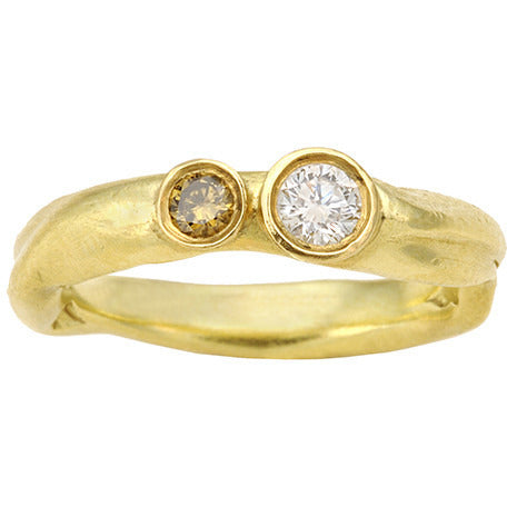 Gold Free Form with Diamonds