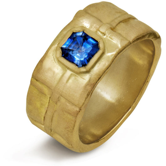 Royal Asscher blue sapphire in folded gold 18KT band by Diana Widman Design.
