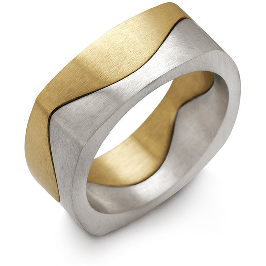 Gold puzzle ring in yellow and white by Diana Widman Design in Chicago.
