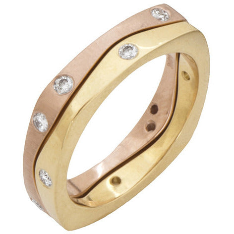 Narrow Gold Puzzle Rings with Diamonds
