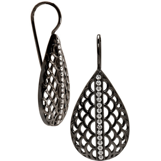 black silver and diamond earrings by Diana Widman Design