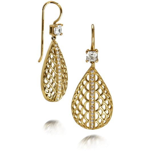 Yellow gold and Royal Asscher diamond drop earrings by Diana Widman Design in Chicago.