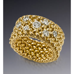 Sold gold mesh with diamonds by Diana Widman Design.