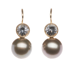 Tahitian Pearl and Gray Spinel 18KT Earrings
