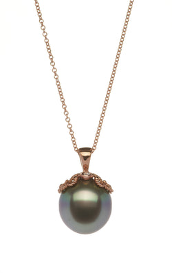 Rose Gold Pendant with Black Tahitian Pearl