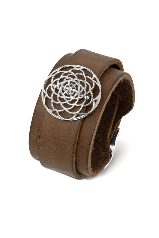 Brown Leather Cuff with Silver Slide
