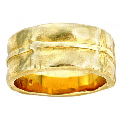 18KT yellow gold wide wedding band from Diana Widman Design Linen COllection