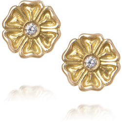 Gold post Daisy earrings by Diana Widman Design in Chicago
