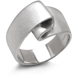 Men's fided white gold wedding band from Diana Widman Design's Linen Collection.