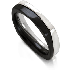 Narrow puzzle ring in black and white steel by Diana Widman Design in Chicago.