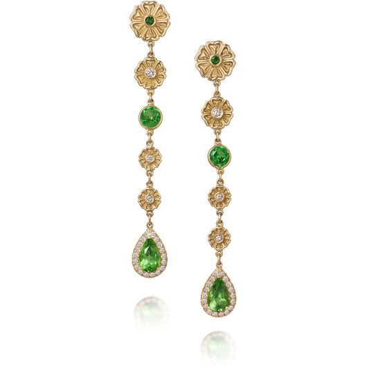 Gold and tsavorite earrings from Diana Widman's Metropolitan Collection.