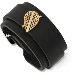 Leather cuff with gold slide by Diana Widman Design in Chicago.