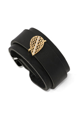 Leather Cuff with Gold Slide