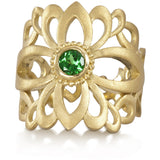 Gold and tsavorite wedding ring made by Diana Widman Design in Chicago.