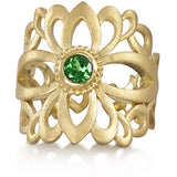 Gold Filigree Ring with Tsavorite Garnet