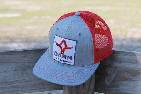 DARN Cattle Co. Patch Hat - Grey w/ red