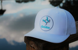 Aqua Fish Patch Hat White